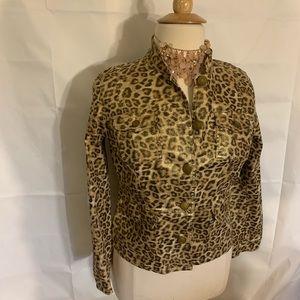 Chico's leopard gold metallic denim jacket XL